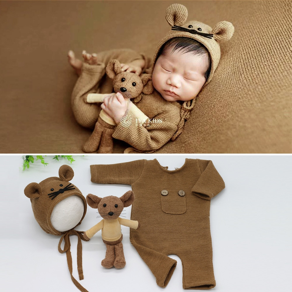 0-1 Month Newborn Photography Props Hat Baby Boy Girl Knitted Jumpsuit Outfit Photography Baby Studio Shooting Props Clothing