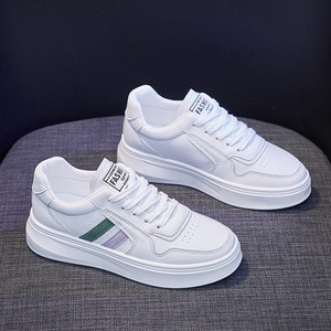 New Spring Women Casual Platform Shoes Leather Striped Fashion Comfortable Girl Lace-up Thick-soled Leisure Flat Shoes Sneakers