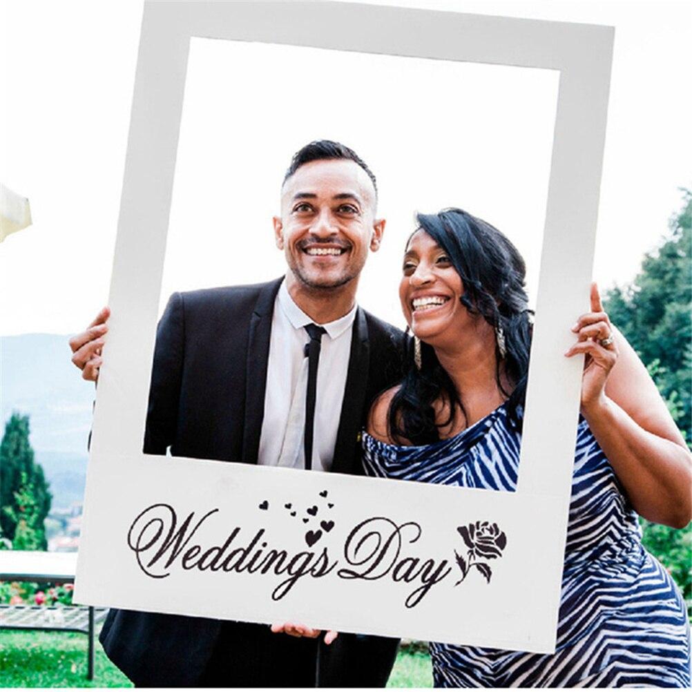 Foto de boda romántica portarretratos accesorios fotomatón decoración del banquete de boda