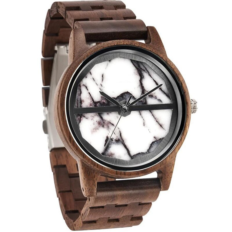 Dropshipping Private Label Wholesale Custom Engrave Gold Hand Marble Full Zebra Wood Watches for Men enlarge