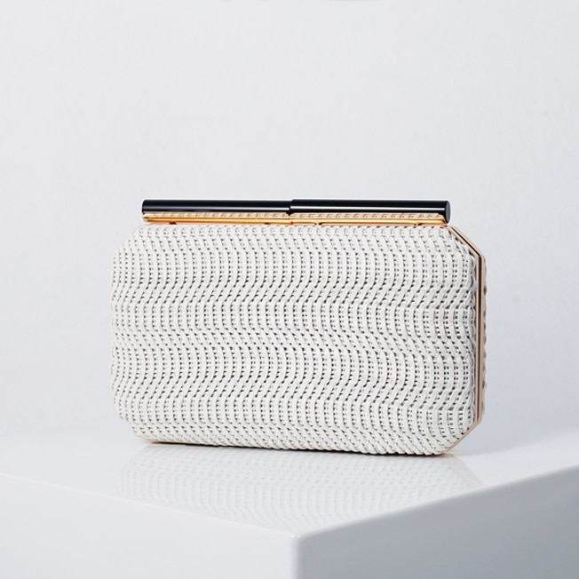 2020 new women woven PU one shoulder chain black evening bag  female dinner red clutches purses for cocktail party and wedding