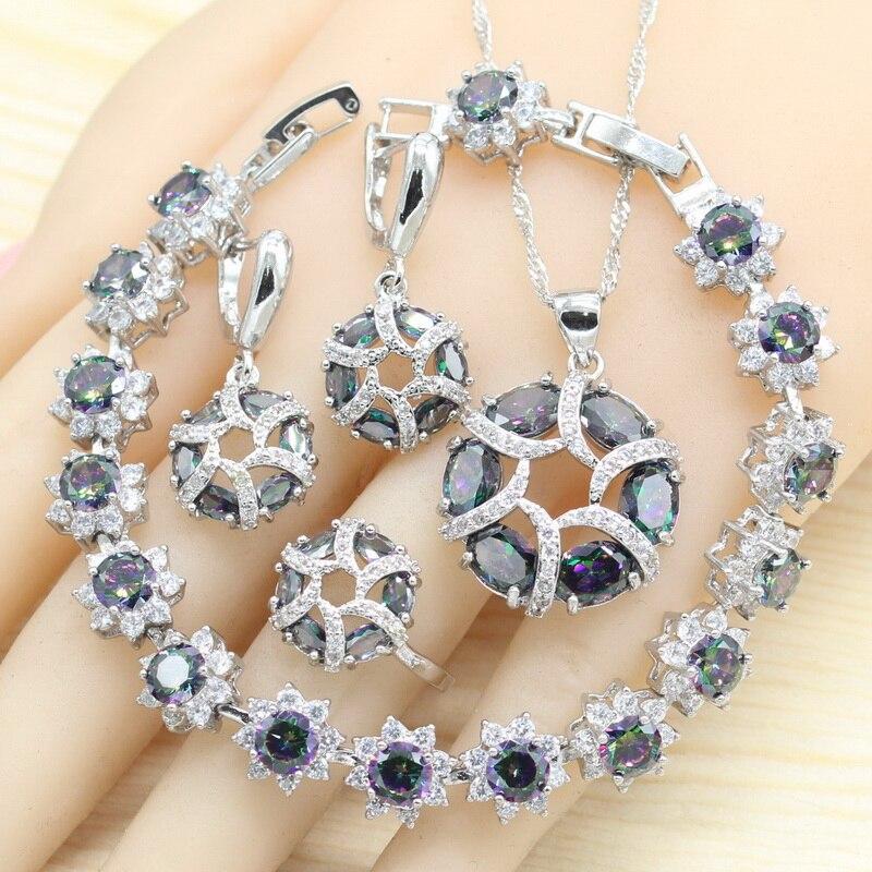 Conjuntos de joyería de Color plateado para mujer, pulsera Multicolor Arco Iris redondo, Pendientes colgantes, collar, anillos colgantes