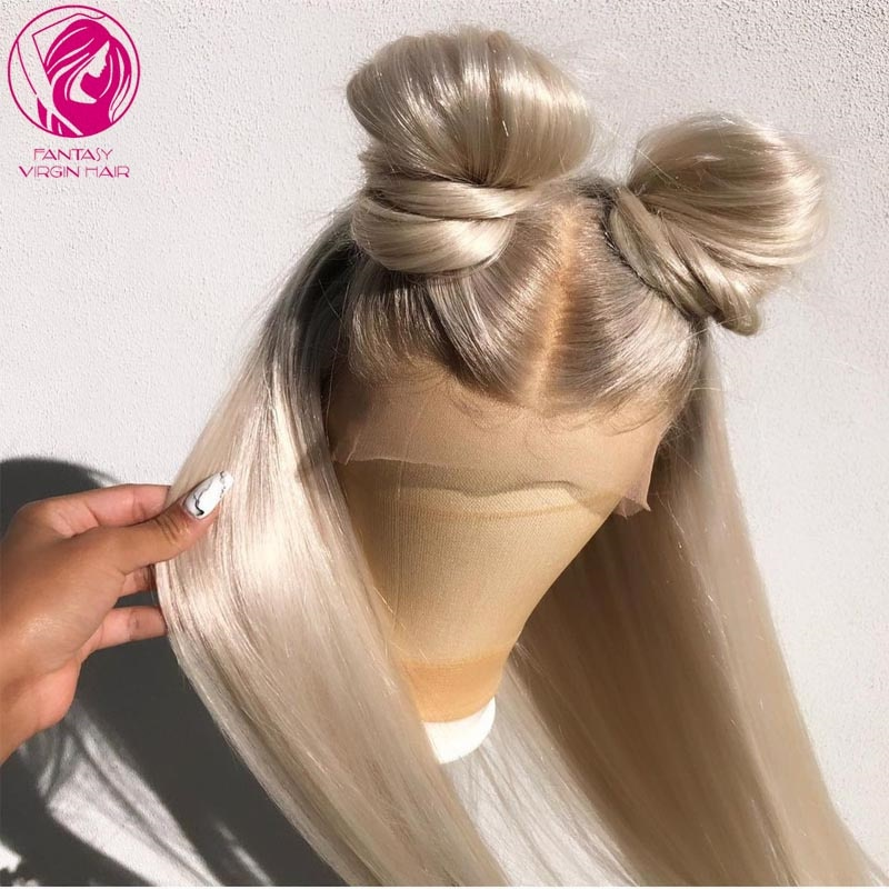 Light Ash Blonde Ombre Human Hair Lace Front Wig 26