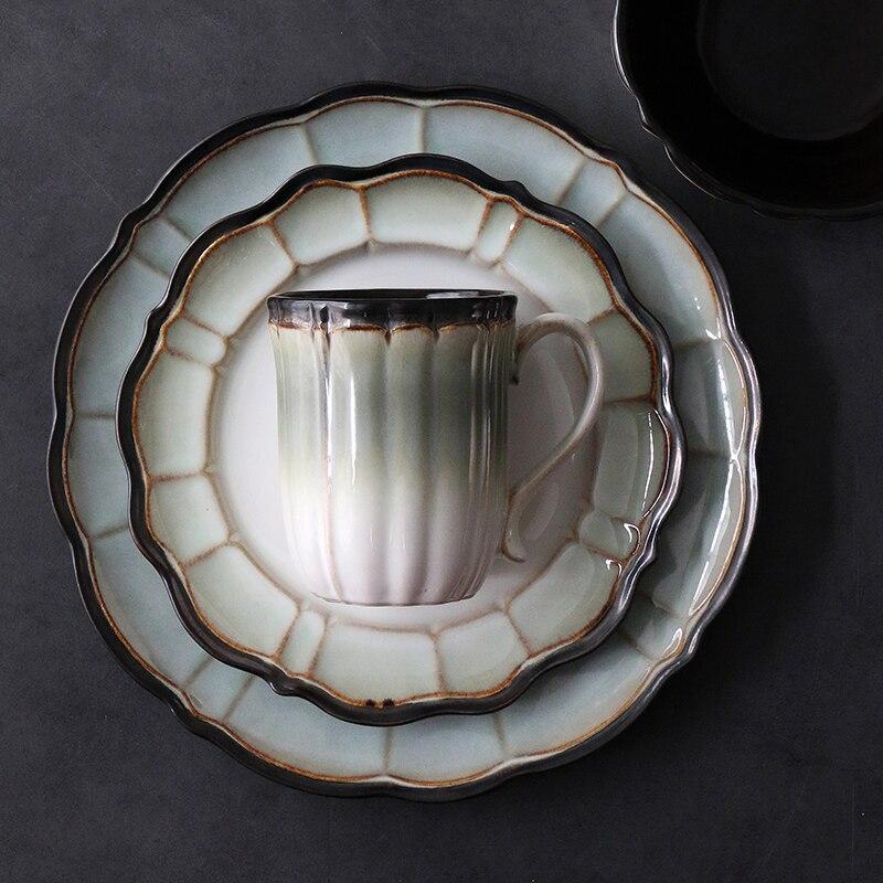 Lotus Pond Moonlight vajilla occidental americana creativa cerámica Placa de colocación en el hogar tazón de ensalada taza