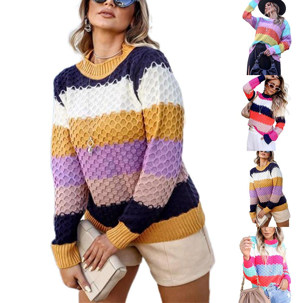 Women's Contrast Stitching Color Short Sweater Crew Neck Loose Pullover Jumper