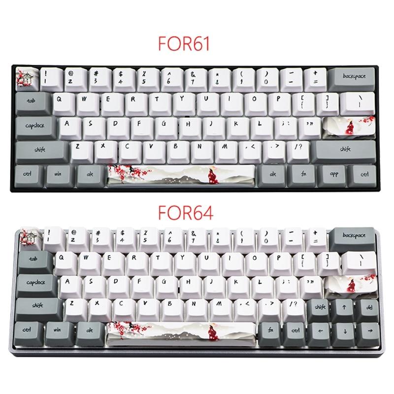 Механическая клавиатура с сублимационной печатью, 73 клавиши, милые колпачки для клавиш PBT OEM, колпачок для клавиатуры GH60 GK61 GK64