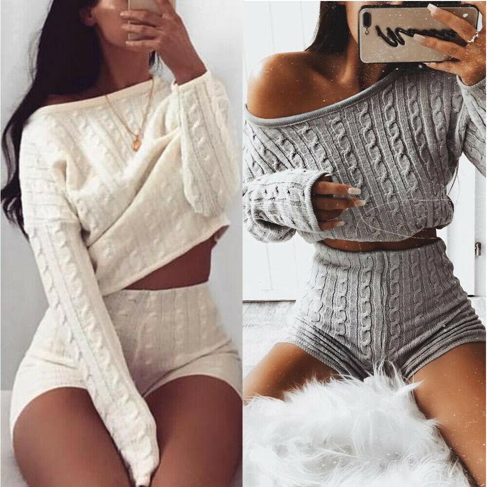 Conjunto de 2 piezas de punto nuevo 2020, Tops cortos y pantalones cortos de manga larga para mujer, suéter Sexy de invierno, conjunto de ropa de dos piezas