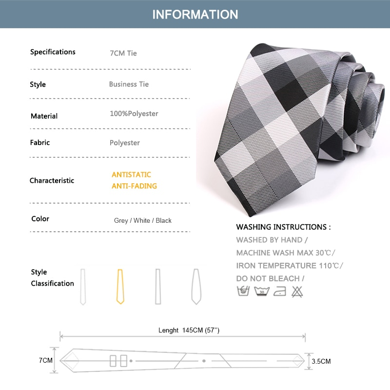 2020 New 7CM Grey Plaid Tie Gentleman Business Ties High Quality Fashion Formal Tie For Men Business Suit Work Necktie Gift Box