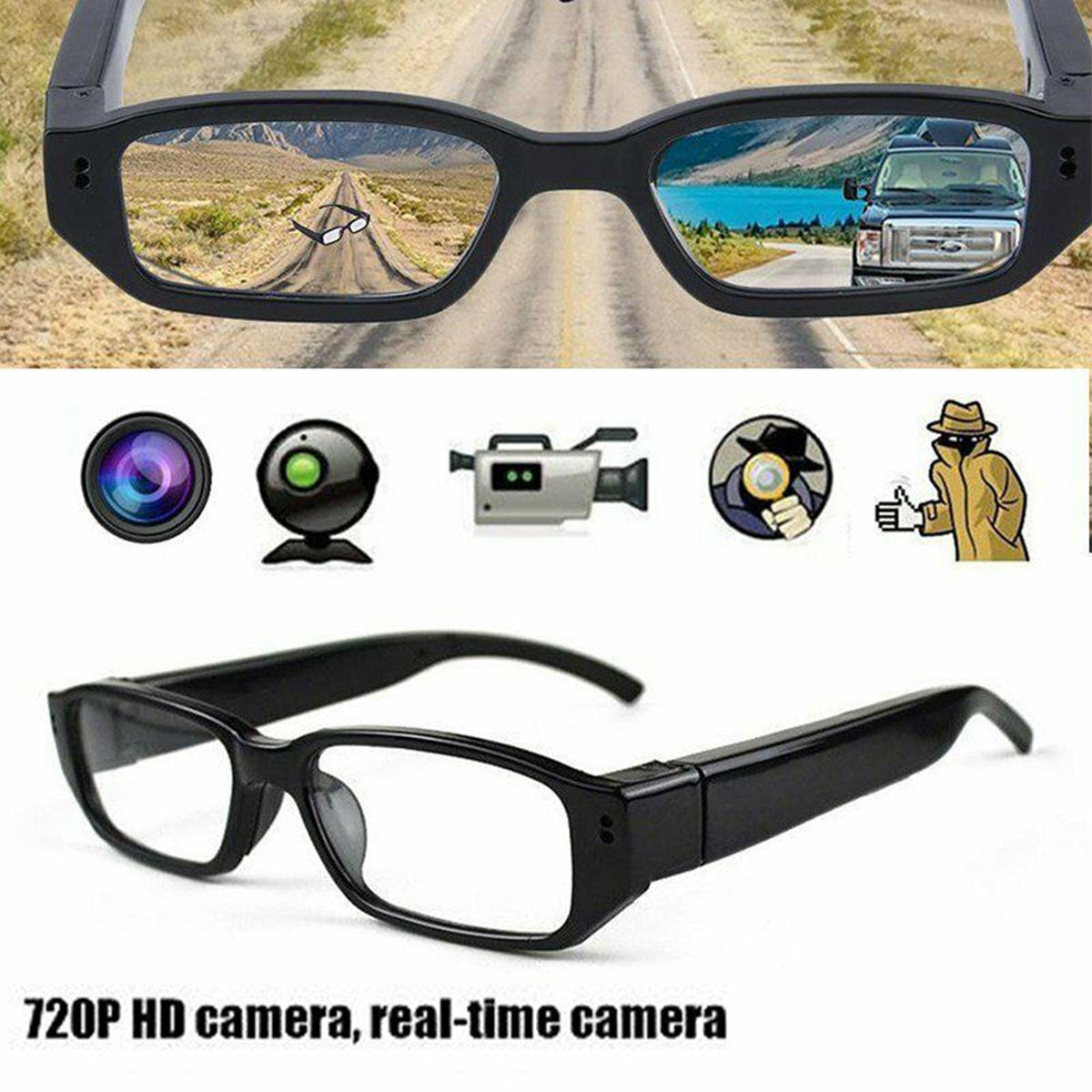 1080P HD Mini Camera Glasses Eyeglass DVR Video Recorder NVR Records Sports Action Video Cameras