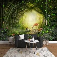 Papier peint Photo 3D Mural   Peinture murale, décoration pour la salle de séjour, chambre denfant, beau décor, grand arbre, forêt verte, wapiti, décoration murale