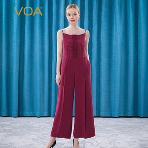 VOA Silk 30m/m Agate Red Front Three-dimensional Pleated Arch Needle Technology Hanging Inclined Pocket with Jumpsuit KE252