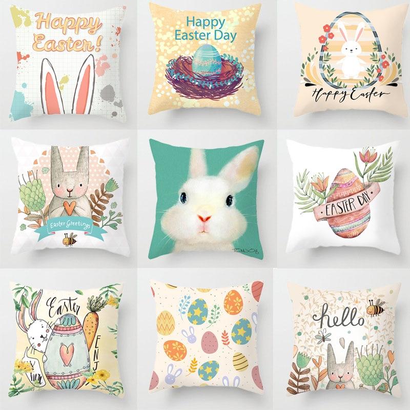 Funda de cojín de Pascua 44*44 funda de almohada cuadrada de conejo de Pascua para Fiesta de Pascua sofá de hogar Decoración de huevo de Chocolate funda de almohada