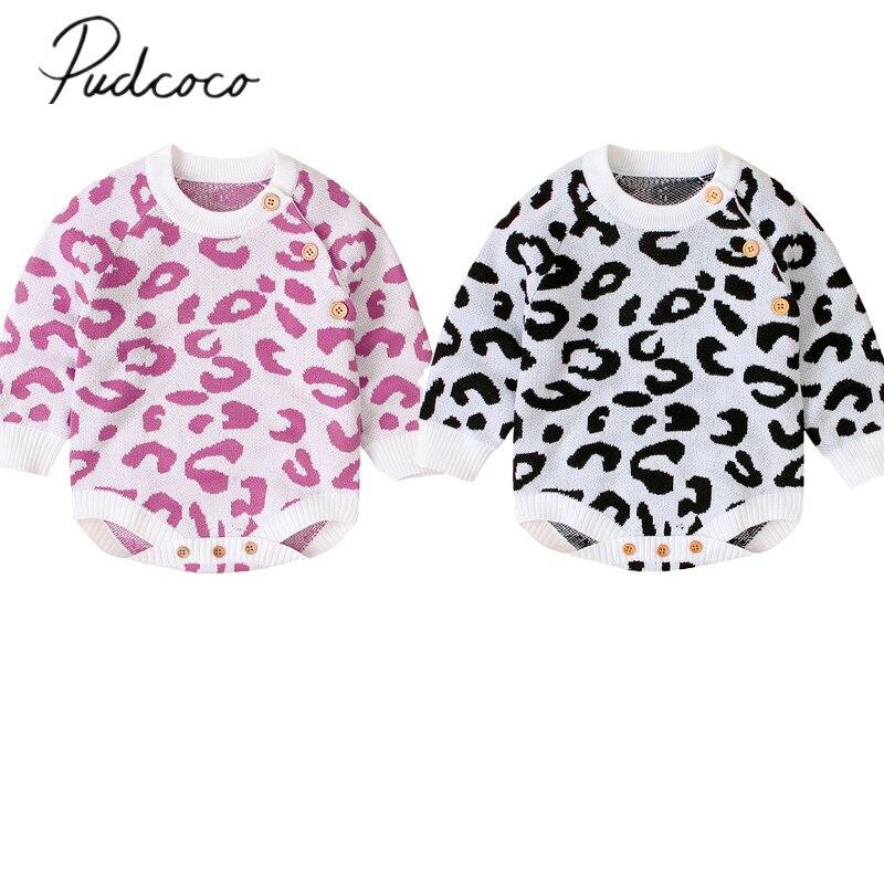 Ropa de otoño invierno 2019 para bebé, ropa para bebé recién nacido (niño o niña), suéter de punto, mono de leopardo, traje de manga larga