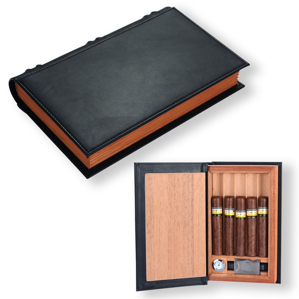 Cedar Wood Travel Cigar Humidor Box Portable Leather Cigar Case With Cigar Cutter Humidifier Hygrometer Book Design enlarge