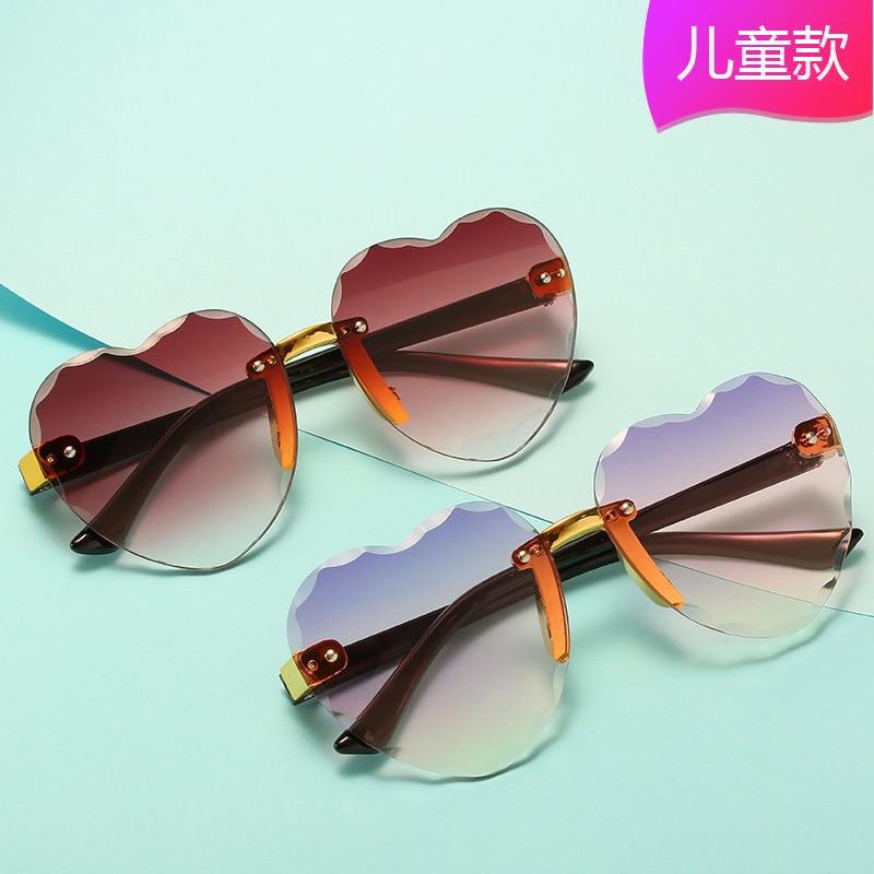 Heart Rimless Frame Sunglasses Car Driving Children Kids Gray Pink Red Lens Fashion Boys Girls Uv400