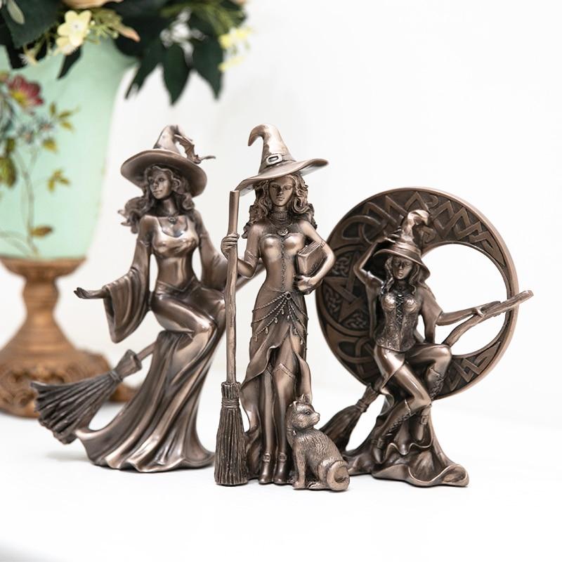 MGT  Nordic Rtro Modern Minimalist Personality Witch Statue Craft Hoom Accessories Desk Kids Room Decor Fairy Garden Sculpture