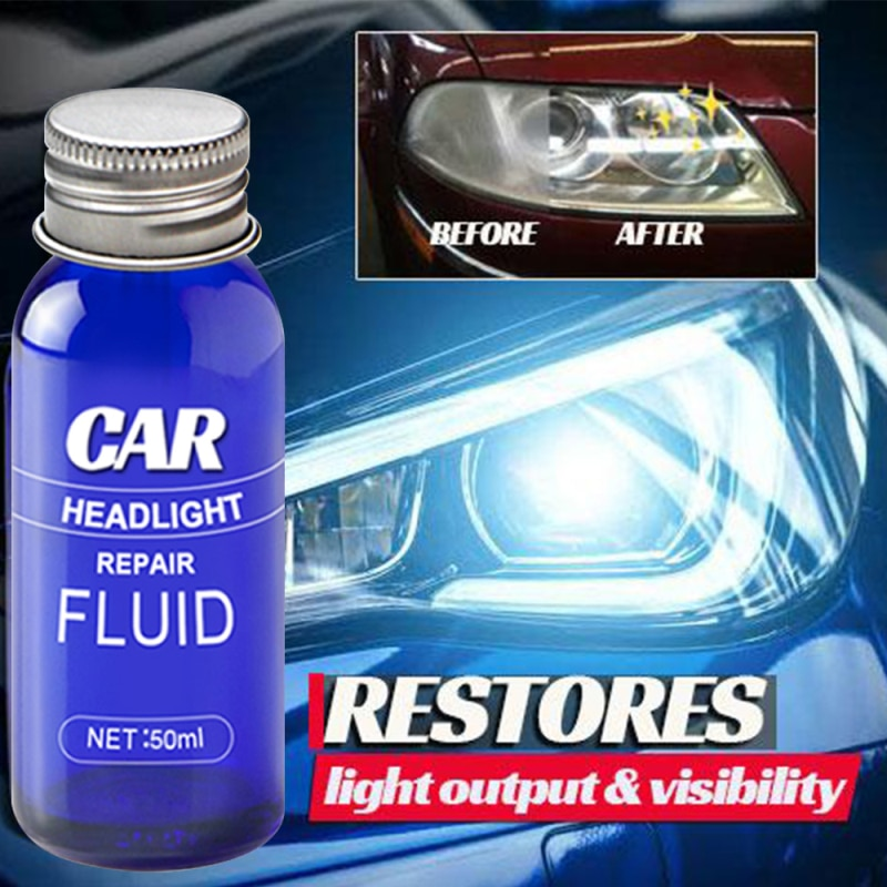 10/50ML Car Headlight Liquid Repair Anti-Scratch Maintenance Repair Headlight Polishing Car Lens Cleaner Restoration Wash TSLM1