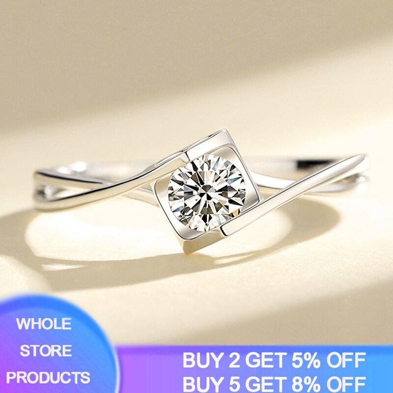Anillo YANHUI clásico femenino de 0,3 CT Zirconia diamante infinito anillo Original 925 anillo de plata compromiso anillos de compromiso para mujeres