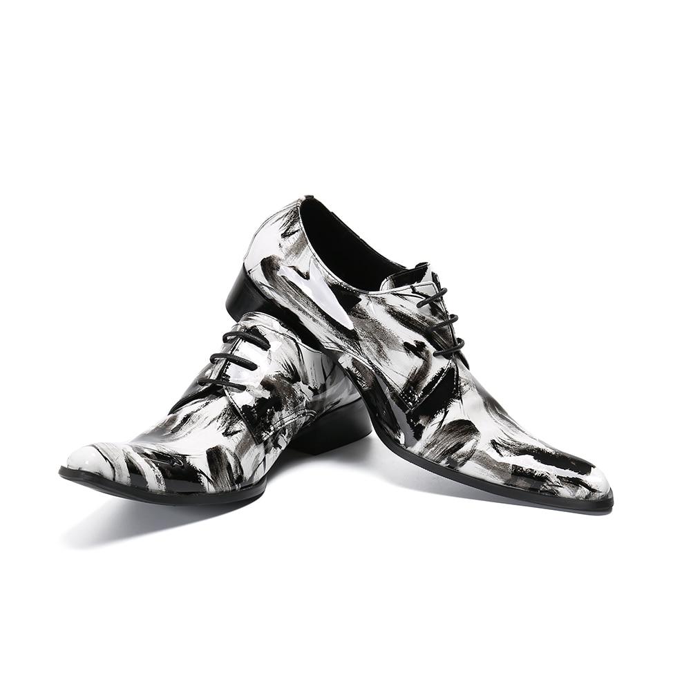 Christia bella nova festa noturna oxfords sapatos homem graffiti couro genuíno plus size rendas até sapatos brogue