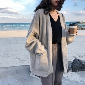 New Oversize Women's Sweaters Autumn Winter sweater Vintage buttons v Neck Cardigans Single Breasted Puff Sleeve Loose Cardigan