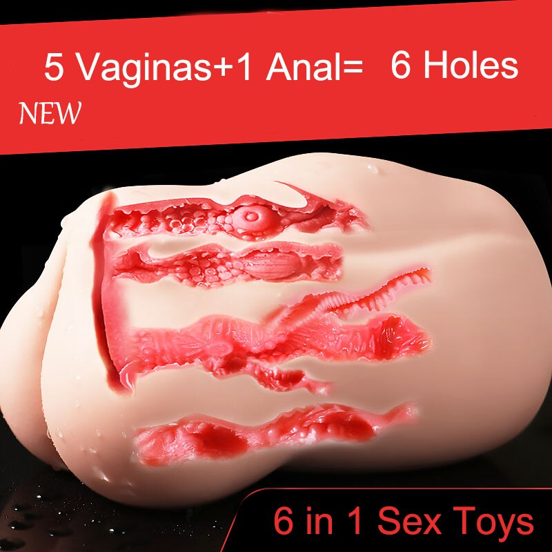 Six Holes Adult Sex Toys Vagina Anal 6 in 1 Male Masturbator Realistic Vagina for Men Sex Toy for Man Erotic Products Real Pussy