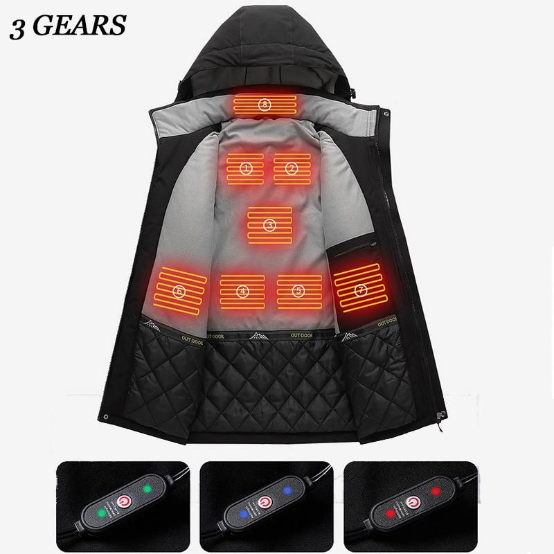 USB электронные куртки с подогревом зимние толстые парки для мужчин с хлопковой подкладкой водонепроницаемые мужские пальто с капюшоном теп...