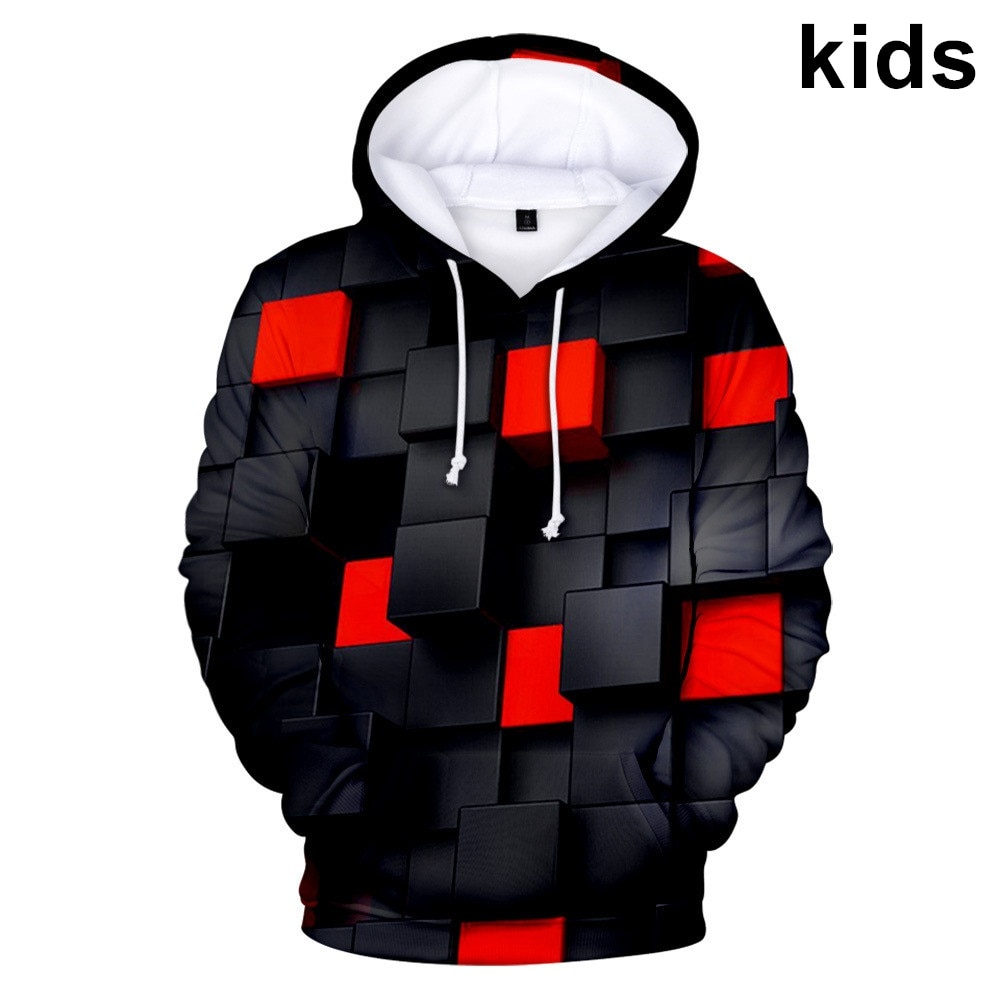 3 To 14 Years Tie Dye Red Square Clothing Children Kids Boys Girls 3D Print Hoodies Sweatshirt Outerwear Child Hoodie Jacket