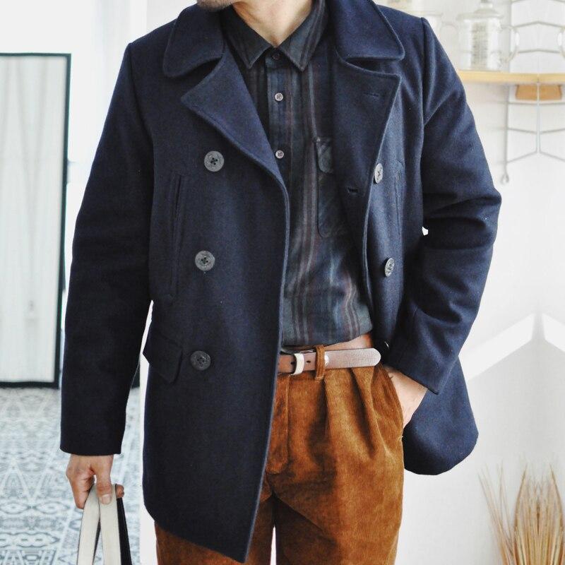 معطف شتوي للرجال من Saucezhan peaquat معطف من الصوف والخراطيم باللون الكحلي معطف سميك عتيق معطف رجالي باركاس دافئ