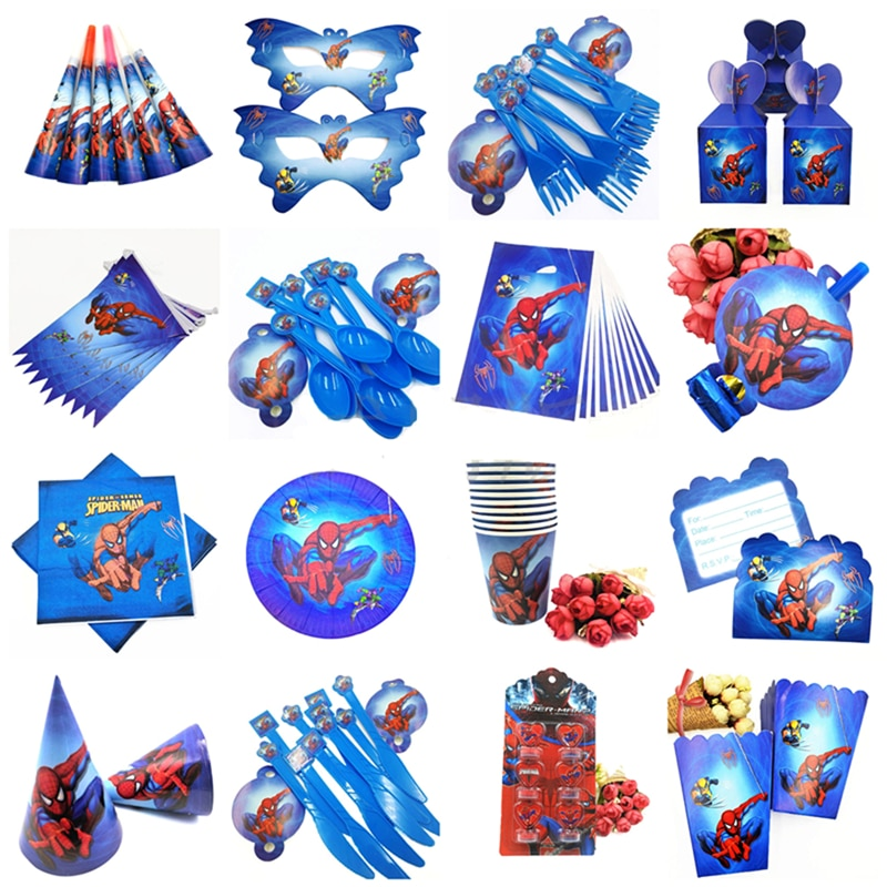 10 Kids Spiderman Happy Birthday Party Supplies Disposable Tableware Festival Decoration Event Favor Gender Reveal Boys Gifts