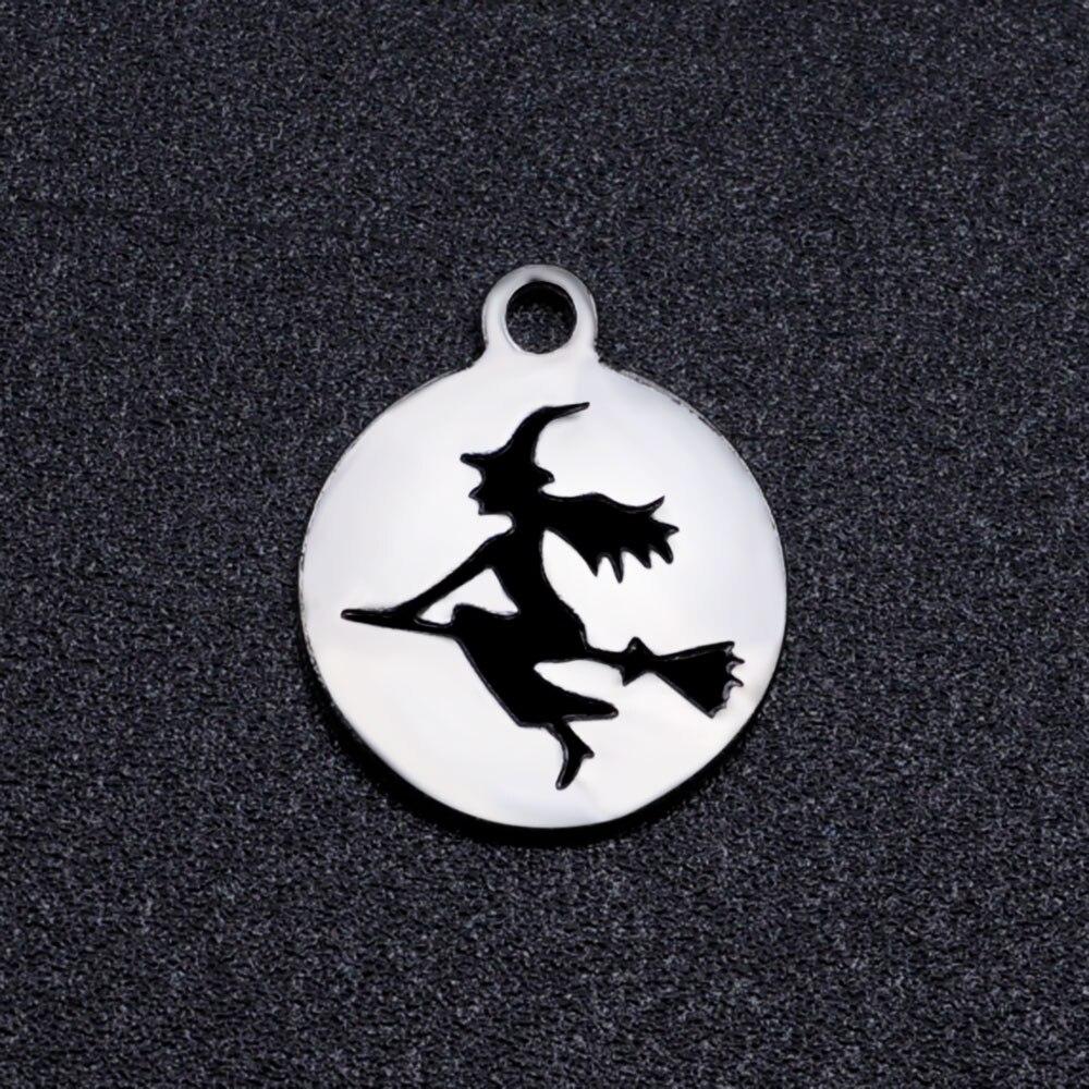 5 pçs/lote 100% aço inoxidável preto esmalte bruxa diy encantos charme por atacado para colar charme para fazer pulseira