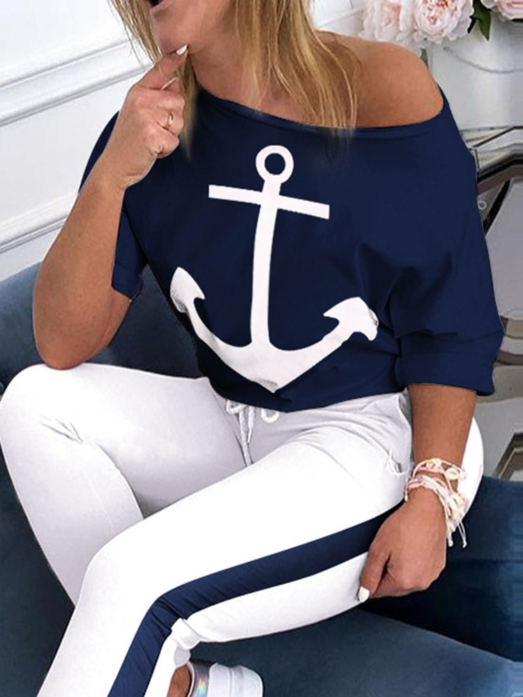 European and American leisure Navy anchor printing two piece fashion o-neck short sleeve T-shirt and pants women's suit