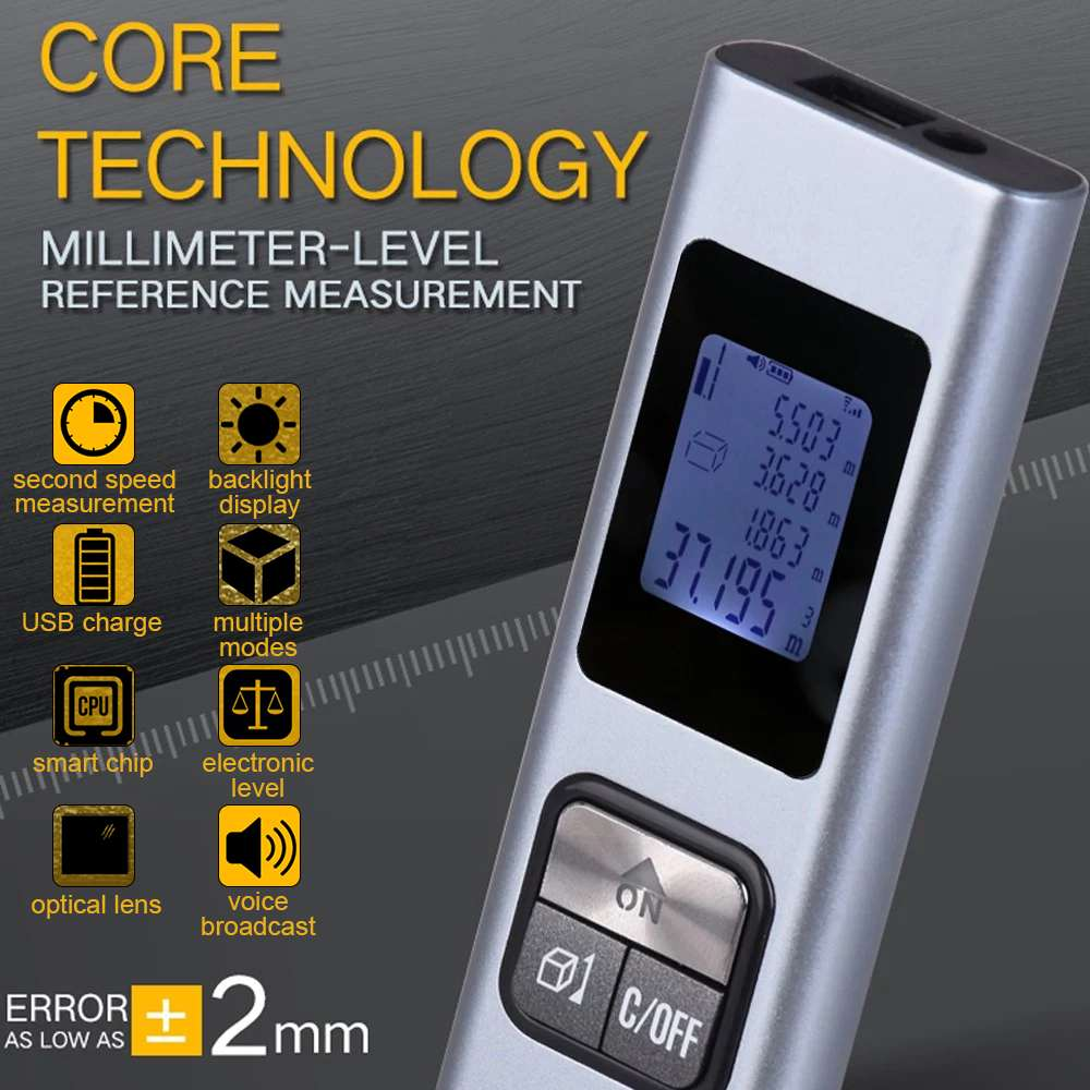Мини лазерный уровень Лазерный дальномер LS-X Интеллектуальный 40 м водонепроницаемый ручной USB портативный Перезаряжаемый лазерный дальномер
