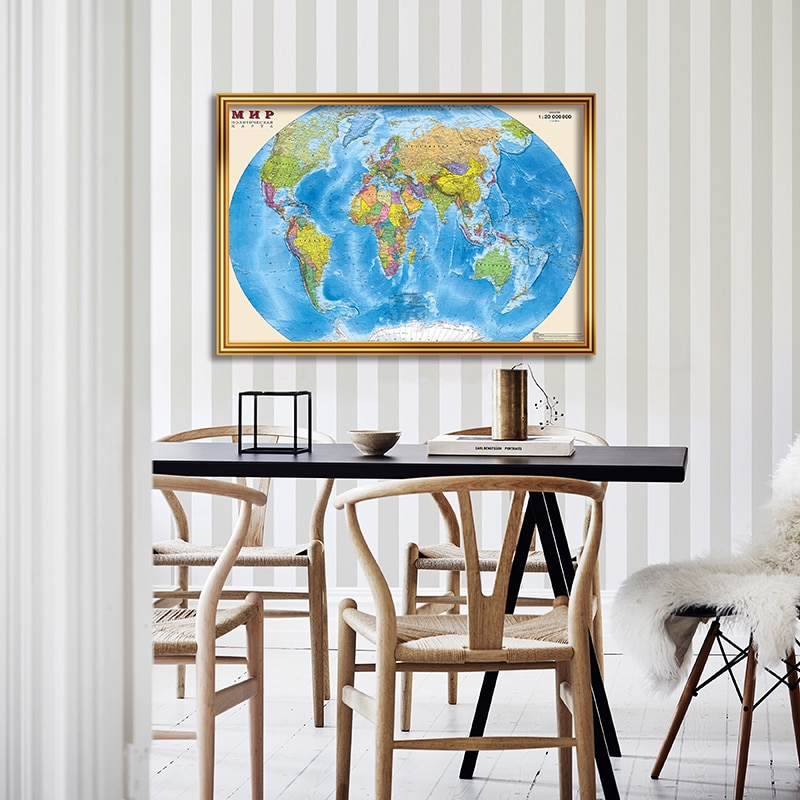 90*60cm The Russian World Political Map Canvas Painting Decorative Wall Art Poster Living Room Home Decoration School Supplies