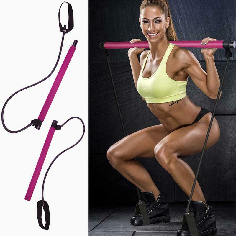 Unisex Pilates Bar Stick Resistance Home Gym Workout Fitness Sport Portabl Foam Tubes Elastic Bands for Fit Bodybuilding