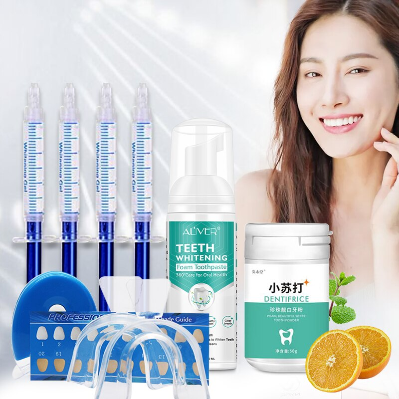 Dental Peroxide Teeth Whitening Gel Kit Pearl Teeth Whitening Foam Toothpaste Beautiful White Tooth Powder To Oral Health 3pcs