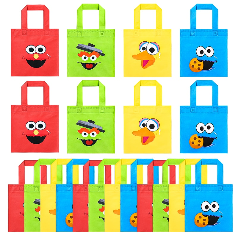 20Pcs Sesame Non Woven Party Favor Bags Monster Reusable Candy Treat Tote Bags with Handle Theme Gift Bags Party Decor for Kids