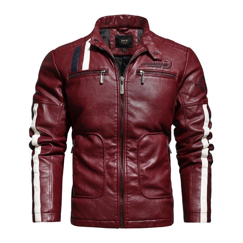 Chaqueta KIOVNO de piel sintética para hombre, chaqueta de piel sintética con bordado para motocicleta, prendas de vestir para hombre, rompevientos, talla M-4XL