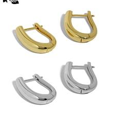 S'STEEL 925 Sterling Silver Hoop Earrings Gift For Women Minimalist Design U-shape Earings Smooth Te