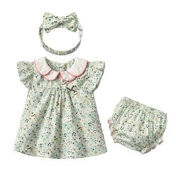 Yg Brand Children's Wear, Summer Baby Cotton Children's Suit, Floral Lapel Baby Clothes, Lovely Princess Skirt
