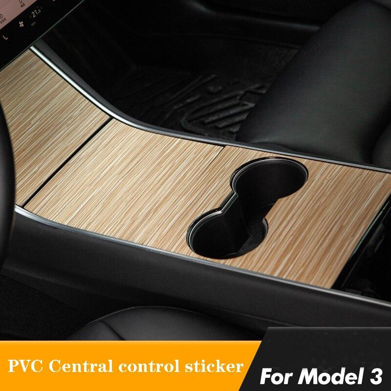 Console central de madeira envoltório adesivo console acessórios grão para tesla modelo 3 telsa modelo y