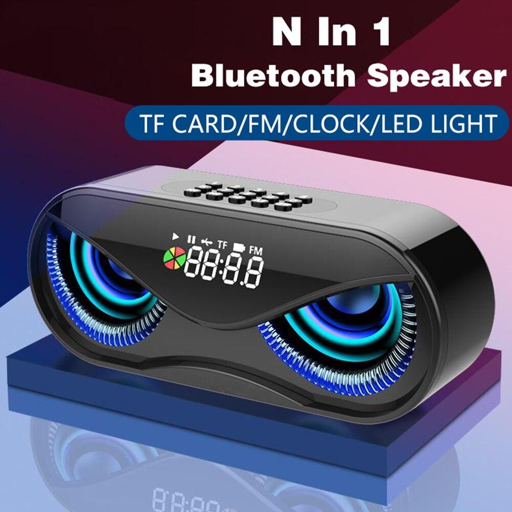Bluetooth 5,0 altavoces al aire libre recargable portátil Mini altavoz Subwoofer búho LED altavoz plástico fuerte y ligero