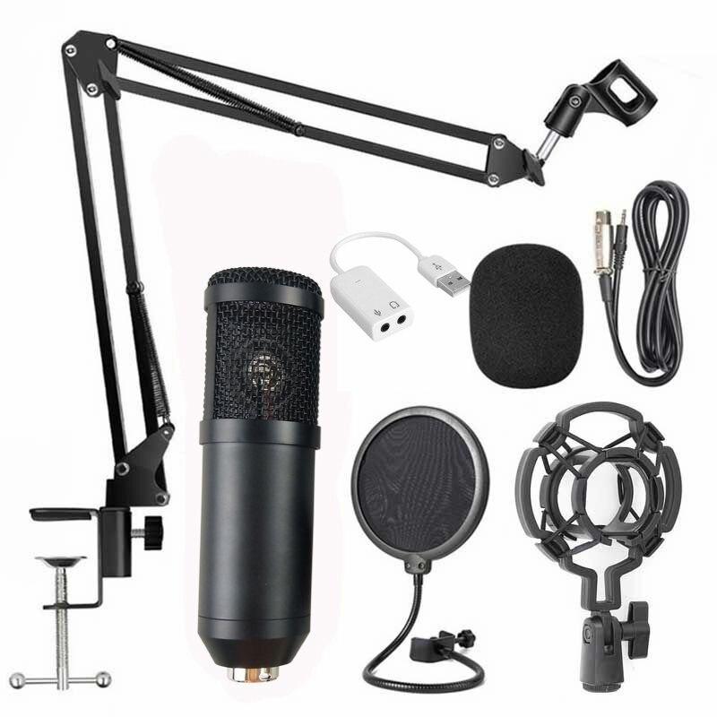 para Computador Portátil Entretenimento com Suporte Placa de Som Preto Condensador Microfone Vídeo Webcast Conjunto Presente Usb