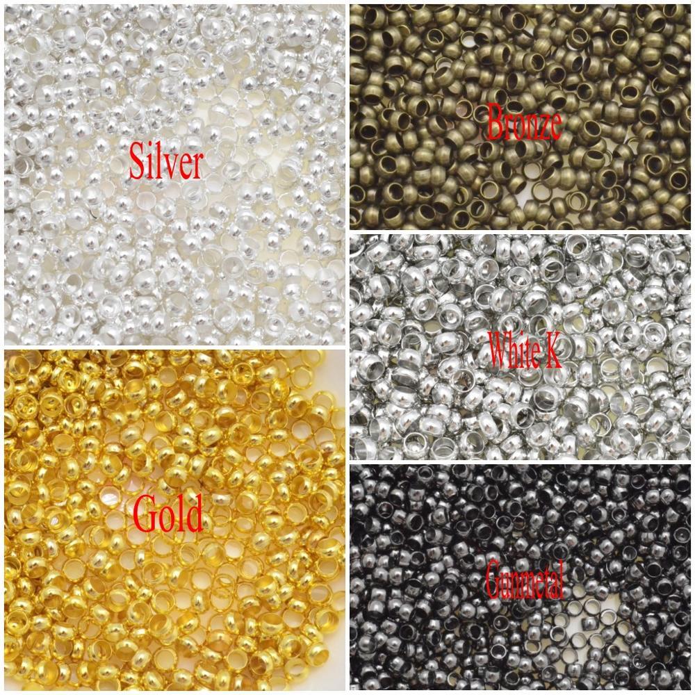 Hallazgos De Joyería Diy tapón espaciador cuentas 2mm-4mm oro/plata/bronce cobre bola engarzado extremo cuentas para hacer joyas