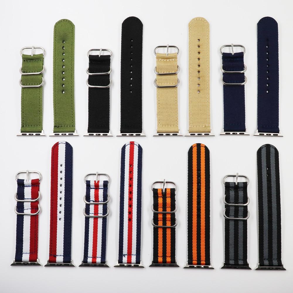 Correa de reloj de nailon Nato para iWatch 4 3 2 1 para Apple Watch Band 38mm 40mm 42 pulsera de muñeca negra de 44mm