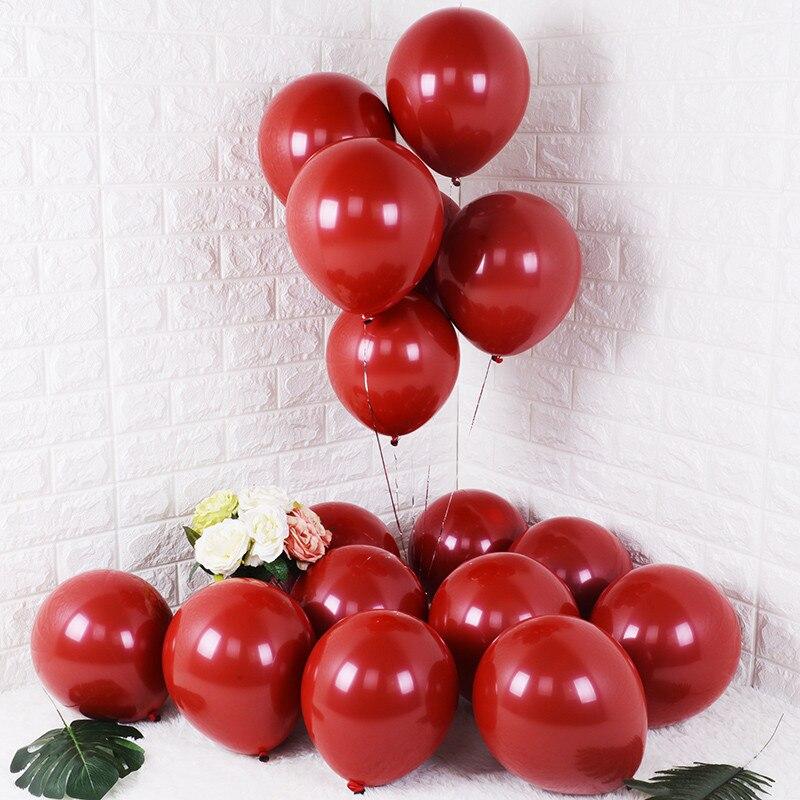 100 pçs 50 pçs 5 Polegada 10 Polegada rubi vermelho brilhante metal pérola látex balões cromo metálico cor decoração da festa de casamento