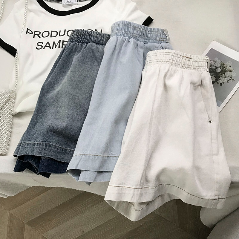 Black Denim Shorts Women's Large Size High Waist Summer Elastic Waist Double Pocket Wide Leg Pants F