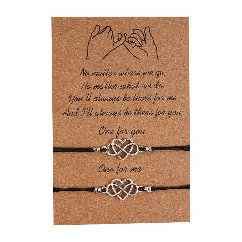 Pulseras a distancia de promesa meñique, pulseras a juego, pulseras para parejas para novio, novia, mejor amigo, ajustables