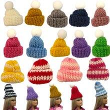 NK 5 Pcs /Set Randomly Doll Hat Knit Cute Cap Fashion Daily Headwear For Barbie Doll Accessories Gift Baby DIY Toys 16A 4X