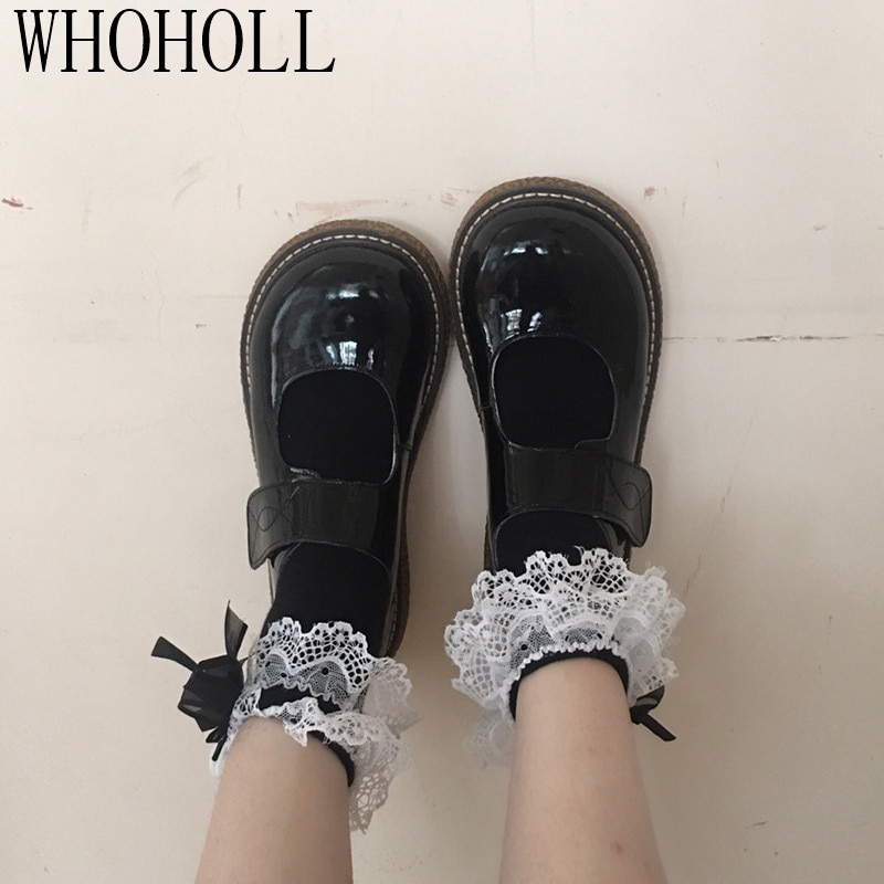 Basic Lolita Big Head Shoes Soft Girl Cute Thick Soled Cosplay Lolita JK Maid Uniform Shoes Large Size 40 freee shipping cos anime ears cats hairpins diffuse maid catwoman lolita soft cute sister card