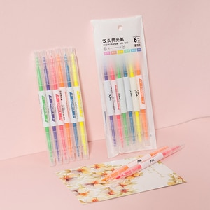 6 colors and 6 double-headed highlighter pens for students with colored pens